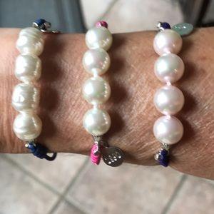 Jewelry - Majorica pearls on colorful elastic bracelets